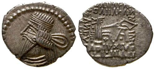Ancient Coins - VF/VF Parthian Drachm Vologases III