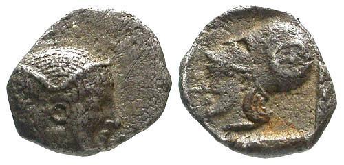 Ancient Coins - VF/VF Mysia Lampsakos AR Obol / Athena with Countermark RR