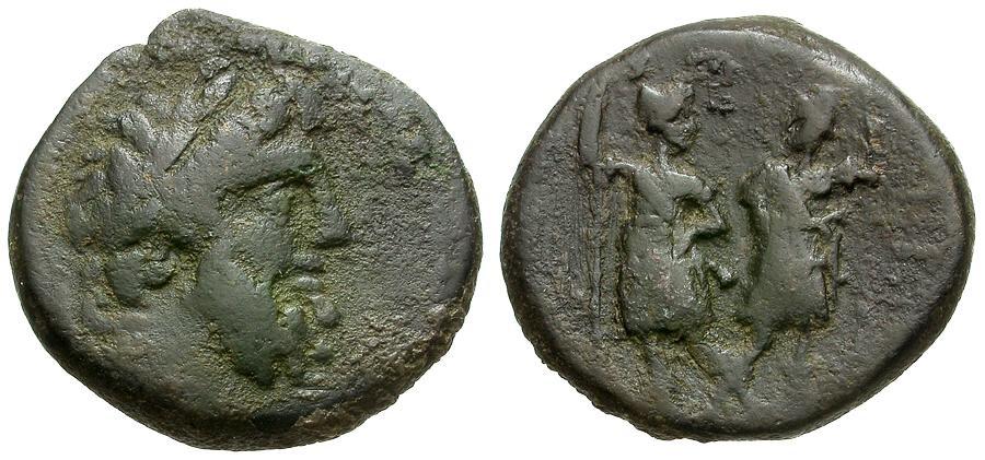 Ancient Coins - Coelea. Chalkis. Ptolemaios as Tetrarch. Son of Mennaeus Æ20 / Zeus and Warriors