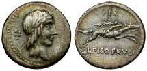 90 BC - Roman Republic. L. Calpurnius Piso Frugi AR Denarius / Apollo / Horseman