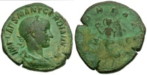 Ancient Coins - Gordian III Æ Sestertius / Victory