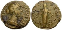Ancient Coins - Faustina II Æ AS / Felicitas with Children