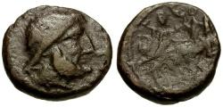 Ancient Coins - Sicily.  Syracuse under Roman Rule Æ19 / Zeus / Nike in Biga