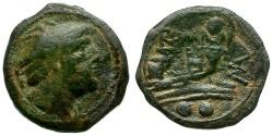 Ancient Coins - 210 BC- Roman Republic. P. Manlius Vulso. Sardinian mint Æ Sextans