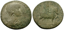 Ancient Coins - Severus Alexander, Cilicia, Seleucia ad Calycadnum Æ26 / Deity on Horseback