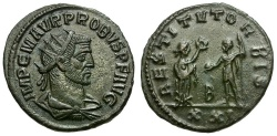 Ancient Coins - Probus Æ Antoninianus / Woman Presenting Wreath to Emperor