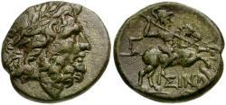 Ancient Coins - Pisidia. Isinda Æ20 / Zeus and Horseman
