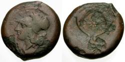 Ancient Coins - gF+/gF Sicily, Syracuse, Dionysios I Æ Drachm / Athena / Dolphins and Star