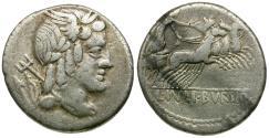 Ancient Coins - 85 BC - Roman Republic. L. Julius Bursio AR Denarius / Victory in Biga