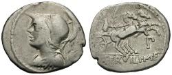Ancient Coins - 100 BC - Roman Republic.  P. Servilius Rullus AR Denarius / Victory in Biga