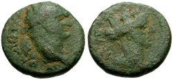 Ancient Coins - Domitian, Coele-Syria, Balanea as Claudia-Leucas Æ17 / Bust of Tyche