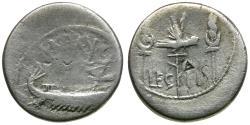 Ancient Coins - Imperatorial. Mark Antony (43-30 BC) Legionary AR Denarius / Legion II