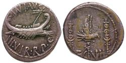 Ancient Coins - Mark Antony.  Legion VII AR Denarius / Eagle and Standards