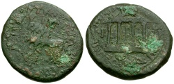 Ancient Coins - Tiberius Spain Carthago Nova Æ20 / Temple