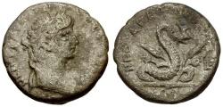 Ancient Coins - Nero. Egypt. Alexandria Billon Tetradrachm / Agathodaimon