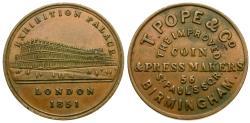 World Coins - England. Warwickshire. Birmingham. T. Pope & Co. Æ Farthing