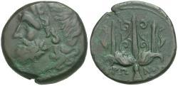Ancient Coins - Sicily. Syracuse. Hieron II (275-215 BC) Æ19 / Trident