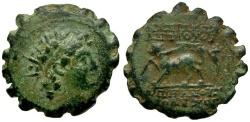 Ancient Coins - Seleukid Kings. Antiochos VI Dionysos Æ17 Serrate / Panther