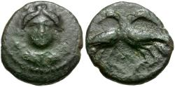 Ancient Coins - Lucania. Laus Æ13 / Two Crows