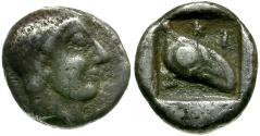 Ancient Coins - Macedon. Skione AR Tetrobol / Archaic Eye