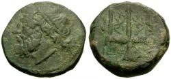 Ancient Coins - gF+/gF+ Sicily, Syracuse, Hieron II Æ20 / Poseidon / Trident