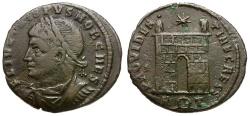 Ancient Coins - Crispus Æ3 / Rome mint Camp gate
