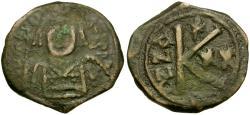 Ancient Coins - *Sear 497* Byzantine Empire. Maurice Tiberius Æ Half-Follis