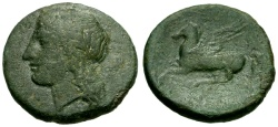 Ancient Coins - aVF/aVF Sicily, Syracuse, Time of Timoleon Æ18 / Apollo / Pegasus