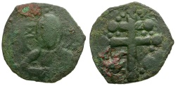 Ancient Coins - Byzantine Empire. Anonymous Class H Æ Follis / Portrait of Christ