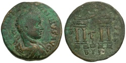 Ancient Coins - Elagabalus.  Phoenicia. Berytos Æ27 / Marsyas in Archway