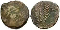 Ancient Coins - Spain. Iberia. Abra Æ AS / Plough and Wheat Stalk