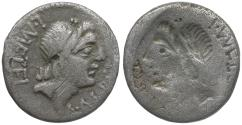 Ancient Coins - 96 BC - Roman Republic. C. Malleolus, A. Albinus Sp.f., and L. Caecilius Metellus AR Denarius / Brockage