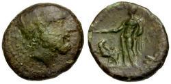 Ancient Coins - gF+/VF Sicily, Zankle-Messana Æ20 / Zeus / Hermes