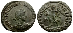 Ancient Coins - Valentinian II Æ4 / Victory