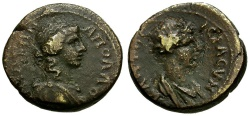 Ancient Coins - Lydia.  Apollonis Quasi-Autonomous Æ16 / Busts of Apollo and Senate