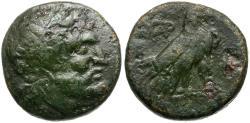 Ancient Coins - Macedon. Paroreia Æ16 / Zeus and Eagle