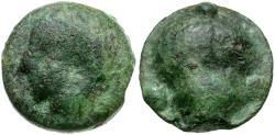 Ancient Coins - Sicily. Selinus cast Æ19 Tetras / Selinon leaf