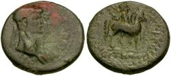 Ancient Coins - Claudius (AD 41-54) with Agrippina II. Lydia. Mostene Æ21 / Hero on Horseback
