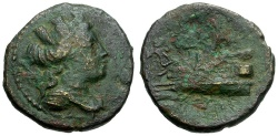 Ancient Coins - Phoenicia.  Arados Æ22 / Poseidon on Galley
