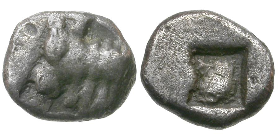 Ancient Coins - Ionia. Uncertain Mint AR Hemiobol / Bull