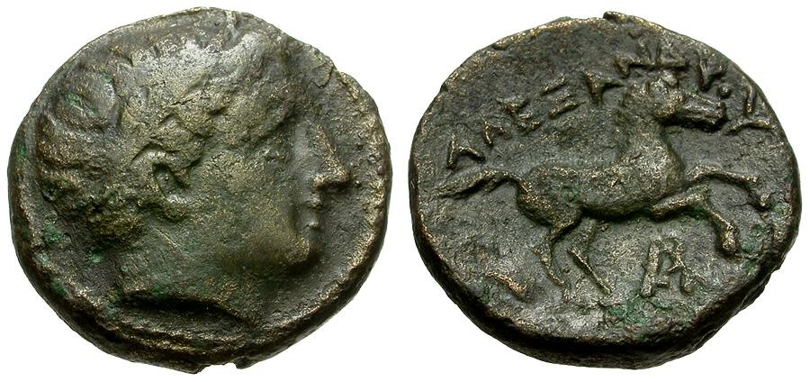 Ancient Coins - Kings of Macedon.  Alexander III the Great Æ16 / Prancing Horse