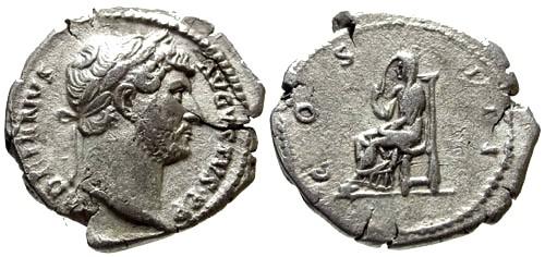 Ancient Coins - aVF/aVF Hadrian AR Denarius / Pudicitia
