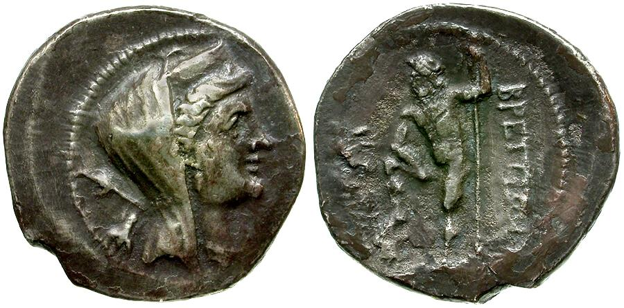 Ancient Coins - Bruttium. The Bretii. Second Punic War Issue. Time of Hannibal AR Drachm / Hera Lakinia