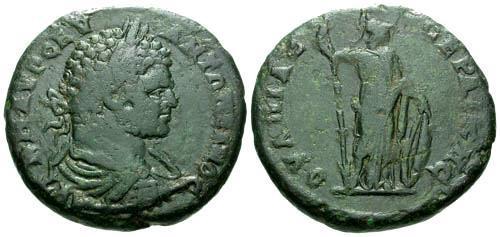 Ancient Coins - aVF/aVF Caracalla AE30 Anchialus / Roma