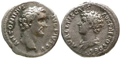 Ancient Coins - aVF/aVF Antoninus Pius and Marcus Aurelius Denarius / Dual Busts