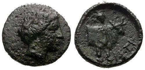 Ancient Coins - VF/VF Euboia Histiaia AE14 / Nymph / Bull