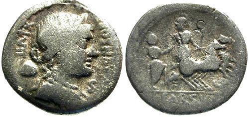 Ancient Coins - 75 BC / F/F Farsuleia 1 Roman Republic Denarius / Roma in biga