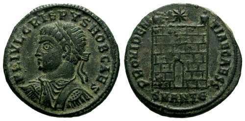 Ancient Coins - aEF Crispus AE3 / Campgate / R2