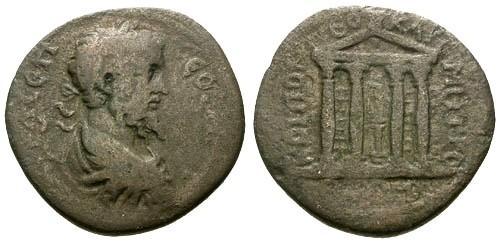 Ancient Coins - aVF/aVF Septimius Severus AE30 Pontus Neocaesarea / Temple