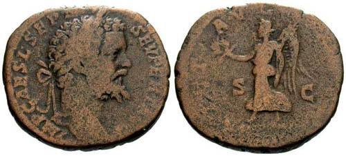 Ancient Coins - gF/F Septimius Severus Sestertius / Victory